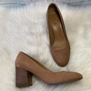 Franco Sarto Tan Leather Stacked Heel Pumps Size 7